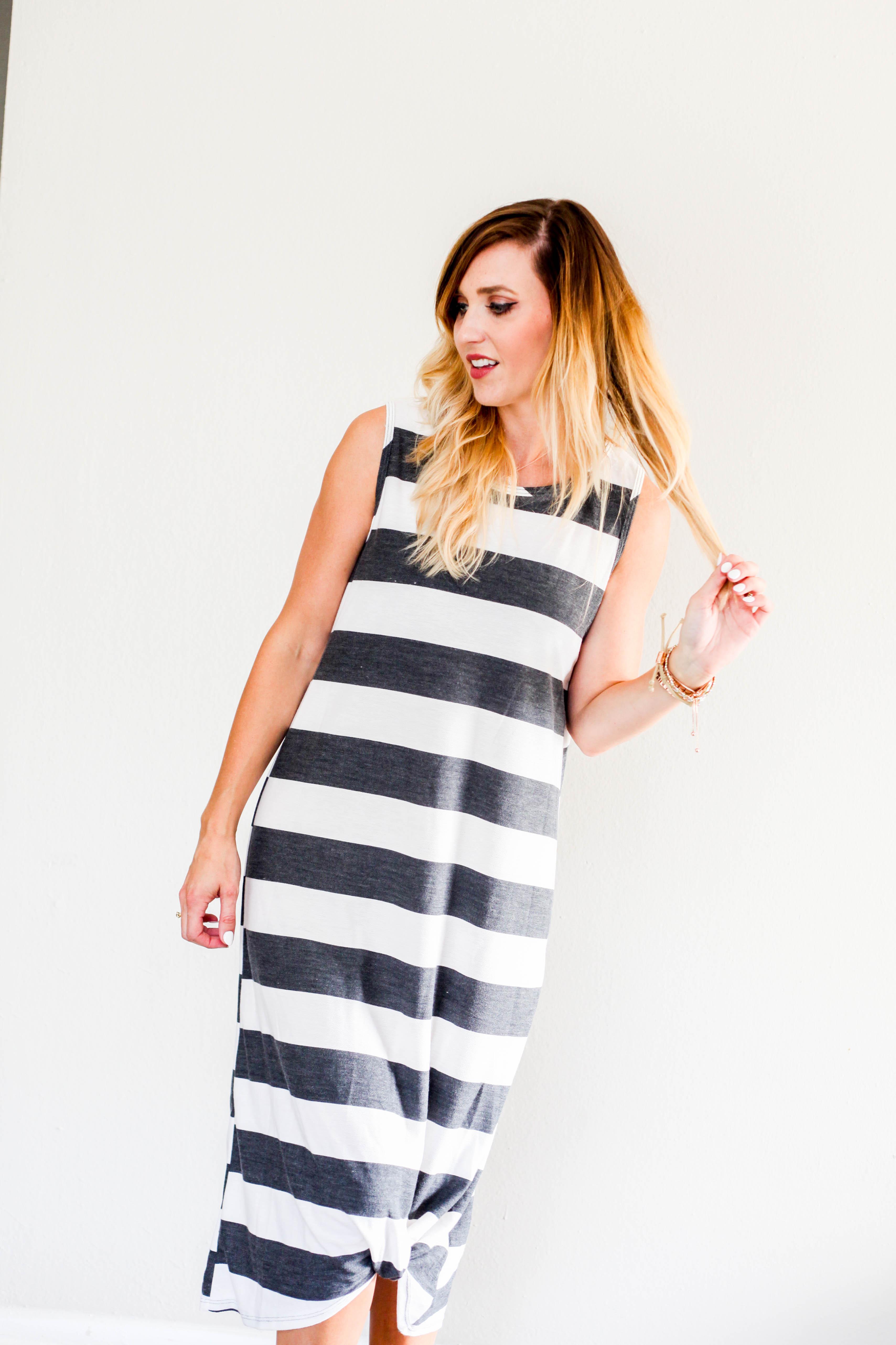 32fec72cf3 French Terry Striped Midi Dress - Jillian Landry