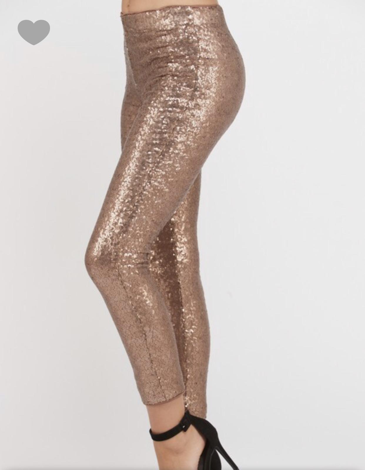 Rose Gold Sequin Leggings Jillian Landry
